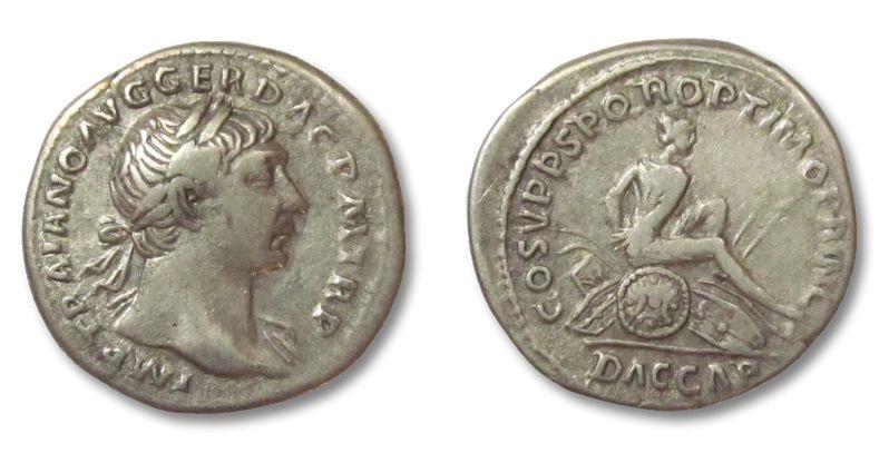 Ancient Coins - HS: AR denarius Trajan / Trajanus, DAC CAPTA, Rome 108 A.D.