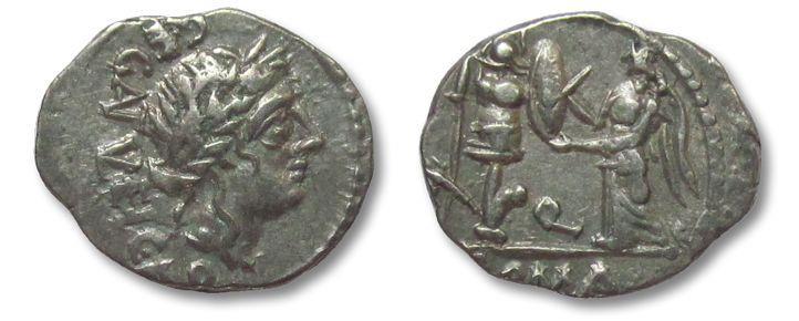 Ancient Coins - AR quinarius C. Egnatuleius C.f., Rome 97 B.C.