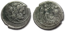 Ancient Coins - AR victoriatus, anonymous issue, crescent series, Rome 207 B.C.