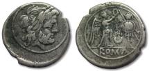 AR victoriatus, anonymous issue, crescent series, Rome 207 B.C.