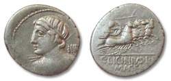 Ancient Coins - HS: AR denarius C. Licinius L.f. Macer, Rome 84 B.C.