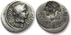 Ancient Coins - AR denarius C. Norbanus, Rome 83 B.C. -- brockage denarius --