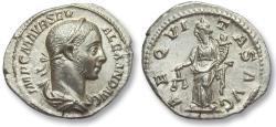 Ancient Coins - AR denarius Severus Alexander, Rome 222-228 A.D. -- near mint state coin, very high relief --