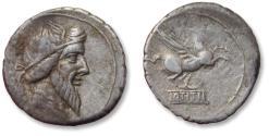 Ancient Coins - AR denarius Q. Titius. Rome 90 B.C. - Pegasos on reverse -