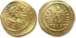 Ancient Coins - AV gold semissis Maurice Tiberius, Constantinople 583-602 A.D.
