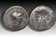 Ancient Coins - AR denarius L. Cornelius Sulla & L. Manlius Torquatus, military mint moving with Sulla 82 B.C. -- rare brockage --