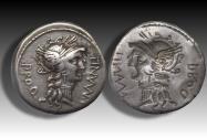 Ancient Coins - AR denarius L. Cornelius Sulla & L. Manlius Torquatus, military mint moving with Sulla 82 B.C. -- rare brockage --