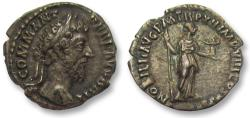 Ancient Coins - AR denarius Commodus, Rome 187 A.D. -- beautiful coin --