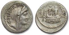 Ancient Coins - AR denarius L. Mussidius Longus, Rome 42 B.C. --Shrine of Venus Cloacina--