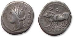 Ancient Coins - AR denarius L. Cassius Caecianus. Rome 102 B.C. - obverse control letter F reverse Q -