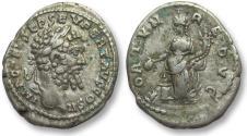 Ancient Coins - AR denarius Septimus / Septimius Severus, EMESA mint 194-195 A.D. -- FORTVN REDVC, rare --