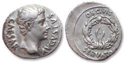 Ancient Coins - AR denarius Octavian as Augustus, Colonia Patricia, 19 B.C. -- OB CIVIS SERVATOS --