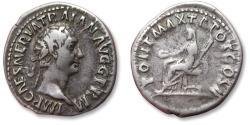 Ancient Coins - AR denarius Trajan / Trajanus, Rome mint 98-99 A.D. - PONT MAX TR POT COS II, Vesta seated left -