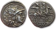 Ancient Coins - AR denarius, L. Iulius, Rome 141 B.C. -- sharply struck & great toning -