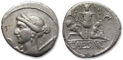Ancient Coins - AR denarius C. Julius Caesar, military mint in Spain 46-45 B.C.