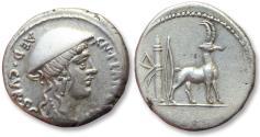 Ancient Coins - AR denarius Cn. Plancius, Rome 55 B.C.