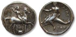 Ancient Coins - AR didrachm Calabria, Tarentum 325-281 B.C. -- SA..- and KON...- as magistrates --