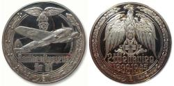 World Coins - 50mm Silver medal WW2: Heinkel 111 HE-111 German bomber