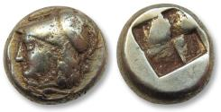 Ancient Coins - Ionia, Phokaia. EL hekte, 387-326 B.C. - helmeted head of Athena left -