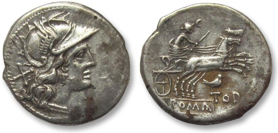 Ancient Coins - AR FOURREE denarius, anonymous issue, Rome 189-180 B.C. -- Bird and TOD series --