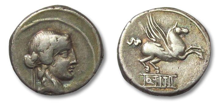 Ancient Coins - AR denarius Q. Titius, Rome 90 B.C.