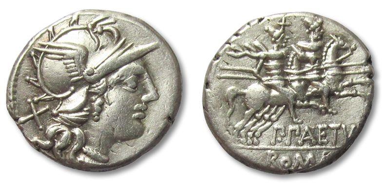 Ancient Coins - AR denarius P. Aelius Paetus, Rome 138 B.C.