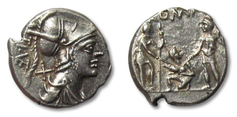 Ancient Coins - AR denarius Ti. Veturius, Rome 137 B.C. --beautiful strike--