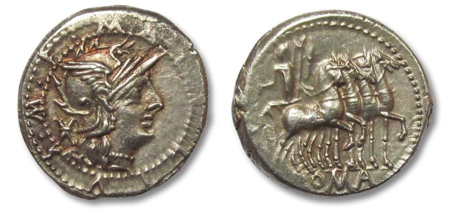 Ancient Coins - AR denarius M. Acilius M.F. Rome 130 B.C. - beautifully centered and exceptionally sharp strike -
