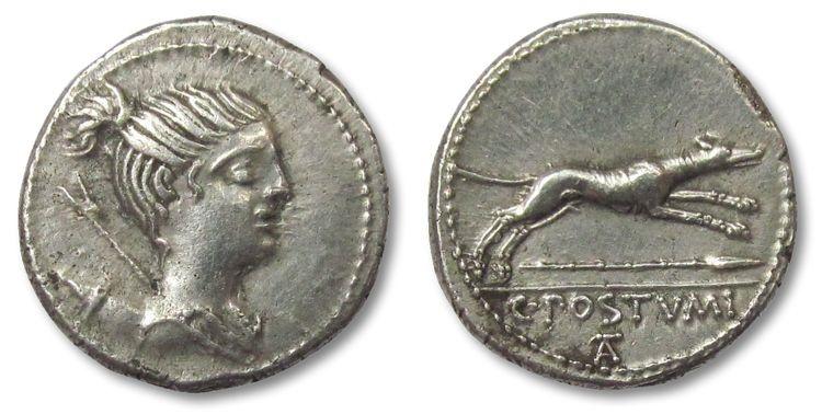 Ancient Coins - AR denarius C. Postumius, Rome 74 B.C.-- Excellent strike, high relief --