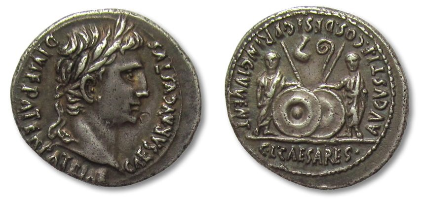 Ancient Coins - AR denarius Augustus, Lyon / Lugdunum 2 B.C. - 4 A.D. -- STUNNING COIN --