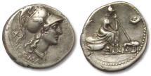 Ancient Coins - AR denarius anonymous issue, Rome 115-114 B.C. -- excellent strike for the type --