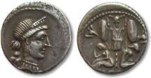 Ancient Coins - AR denarius Julius Caesar, military mint travelling with Caesar in Spain, 46-45 B.C.