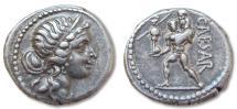Ancient Coins - AR denarius C. Julius Caesar, military mint travelling with Caesar 48-47 B.C.