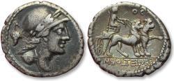 AR denarius M. Volteius M.f., Rome 78 B.C. -- lion biga, control letters OE (or OC) on reverse --