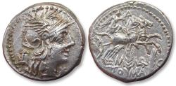 Ancient Coins - AR denarius M. Marcius,  Rome 134 B.C. - Biga & grain ears, great centering on both sides -