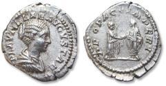 Ancient Coins - AR denarius, Plautilla. Rome mint 202 A.D. - PROPAGO IMPERI, Plautilla clasping hands with Caracalla -