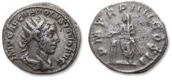 Ancient Coins - AR antoninianus, Volusian / Volusianus. Rome mint 253 A.D. - P M TR P IIII COS II, emperor Volusian sacrificing -