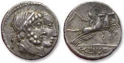 Ancient Coins - AR denarius C. Marcius Censorinus, Rome 88 B.C. -- dual portrait obverse  --