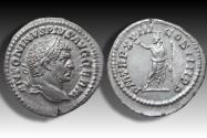 Ancient Coins - AR denarius Caracalla, Rome 215 A.D. - P M TR P XVIII COS IIII P P, Serapis standing left -