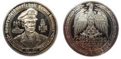 """World Coins - 50mm Silver medal WW2: Generalfeldmarschall Erwin Rommel, the """"Desert fox"""""""