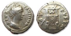 Ancient Coins - AR denarius Faustina I Senior, Rome after AD 141 - AVGVSTA, throne sceptre and wreath, struck under Antoninus Pius