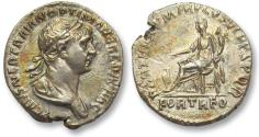 Ancient Coins - AR denarius Trajan / Trajanus, Rome 116-117 A.D. -- FORT RED, Fortuna seated left --