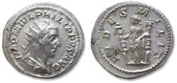 Ancient Coins - AR antoninianus, Philip I 'the Arab' - near mint state coin - Rome mint 244-247 A.D. - FIDES MILITVM -