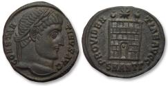 Ancient Coins - AE follis Constantine I, Antioch mint 325-326 A.D. -- SMANTΓ, 6 tiered campgate --