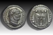 Ancient Coins - AR argenteus Constantius I as Caesar, Nicomedia mint circa 295 A.D. - very rare cointype -
