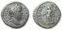 Ancient Coins - HS: AR denarius Septimius Severus, Rome 208 A.D. --GENIUS standing left--