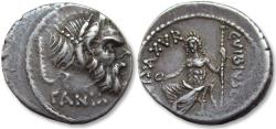 Ancient Coins - AR denarius C. Vibius C.f. C.n. Pansa Caetronianus, Rome 48 B.C.