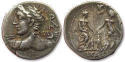 Ancient Coins - AR denarius L. Caesius, Rome mint 112-111 B.C.
