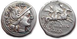 Ancient Coins - AR Denarius, M. Atilius Saranus, Rome 148 B.C. - variety with SARAN upwards on obverse instead of downwards -