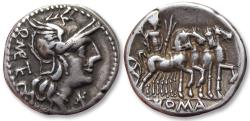 Ancient Coins - AR denarius Q. Caecilius Metellus, 130 B.C. - beautifully toned -